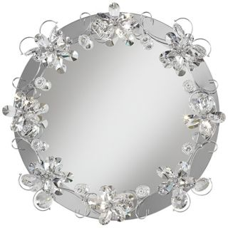 """Crystal Petals 25 5/8"""" Lighted Round Wall Mirror   #W0959"""