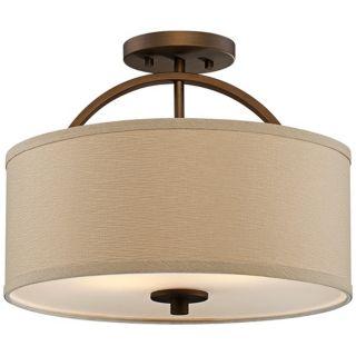 "Brushed Bronze Finish Semi Flush 15"" Wide Ceiling Light   #T8954"