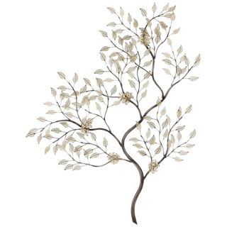 "Silver and Gold Leaves Branch 34"" High Wall Art   #U2164"