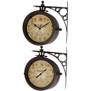 "Charleston Station 11"" High Two Sided Thermometer Wall Clock   #J4550"