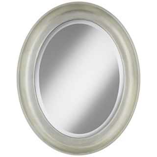 "Cameo Silver Finish 30 1/2"" High Oval Wall Mirror   #W4273"