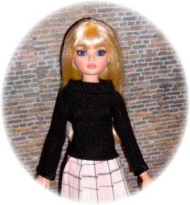 Black Fine Knit Sweater for 16 Ellowyne Friends by Judy