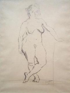 Jules Pascin Original 1917 Drawing Female Nude