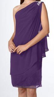 JS Boutique Purple Embellished One Shoulder Chiffon Dress Sz 14 $149