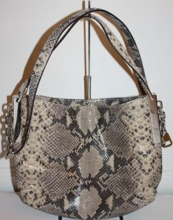 Auth. Michael Kors Julian Medium Crossbody Shoulder Sands Python Purse
