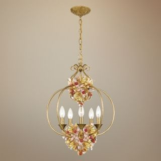 "Crystorama Fiore Antique Gold Leaf 17"" Wide Chandelier   #R0088"