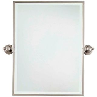 """Minka 24"""" High Rectangle Brushed Nickel Bathroom Wall Mirror   #U8975"""