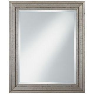 """Antiqued Silver Wood Frame 34"""" High Wall Mirror   #U7514"""
