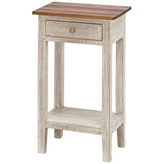 Single Drawer Antique White Solid Wood Table   #W8460