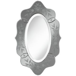 "Smoked Glass 25 1/2"" High Scallop Oval Wall Mirror   #W4219"