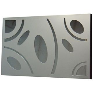 "Silver Shapes 29"" Wide Metal Frame Wall Mirror   #R0589"