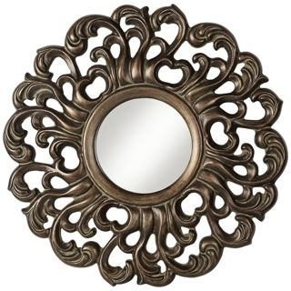"Ornate Crest Leaf 33 1/4"" High Bronze Wall Mirror   #W3901"