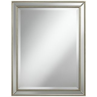 "Beveled 32"" High Antique Silver Wilton Wall Mirror   #X6446"