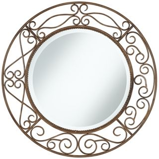 "Distressed Rust Curves 30"" Wide Wall Mirror   #U5002"