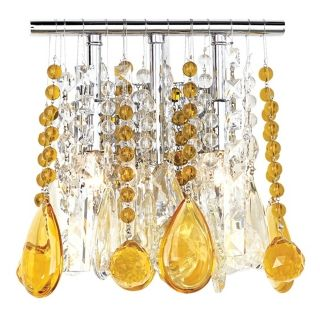 "Clear and Amber Crystal  9"" Wide Two Light Wall Sconce   #33768 00829"