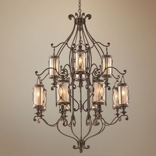 "Valais Collection 43"" Wide Large Wrought Iron Chandelier   #H2667"
