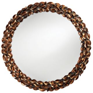 Antique Copper Finish Leaf Trim Round 40 Wide Wall Mirror   #H6223