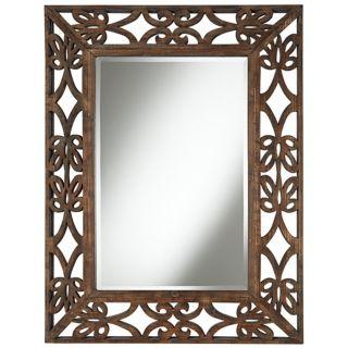 """Espresso Scroll Wood Openwork 39"""" High Wall Mirror   #X5012"""