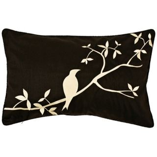 Surya Black and Beige Bird Lumbar Pillow   #J8421
