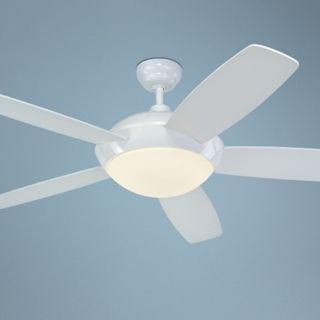 "52"" Monte Carlo Sleek White Ceiling Fan with Light Kit   #R1314"