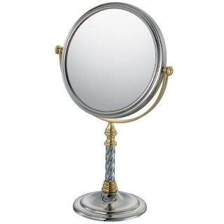 "Two Tone Chrome and Gold 6"" Wide Vanity Stand Mirror   #03716"