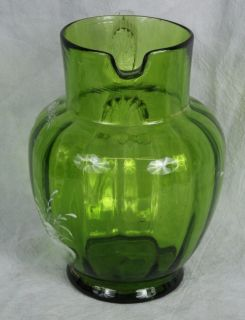 L163 HD Blown Painted 1920s Bohemian Mary Gregory Emerald Green Optic