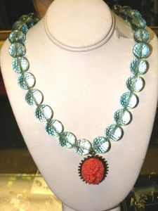 David Aubrey Necklace Anthropologie Lge Green Translucent Beads w
