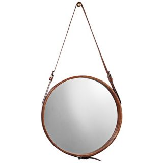 "Jamie Young Leather Strap 19"" High Round Wall Mirror   #U3447"