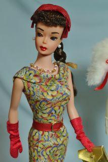 OOAK Vintage Brunette 1963 6 Ponytail Barbie Doll Repaint by