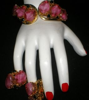 Juliana Pink Onyx Stone Clamper Bracelet Earrings Set