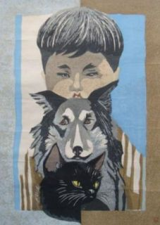 Original 1965 Junichiro Sekino (1914 1988) Woodblock Boy Dog Cat Print