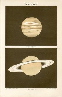 1894 Jupiter Saturn Planets Astronomy Antique Chromolithograph Print