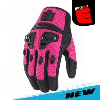 Icon Womens Justice Mesh Motorcycle Riding Glove Pink Black Medium Med
