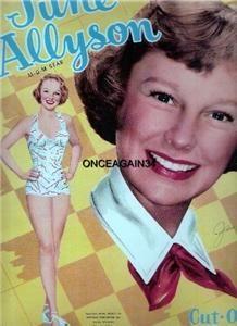 Vintage Uncut 52 June Allyson Paper Dolls 1 Top Repro