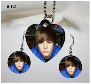 Justin Bieber Photo Charm Necklace Earring Set 14