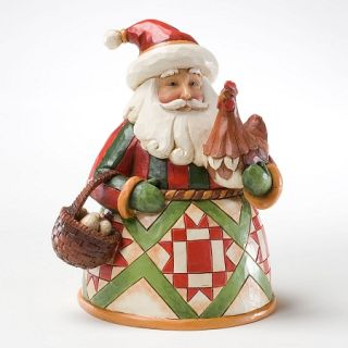 Jim Shore Heartwood Creek Christmas Figurine Small Santa with Rooster