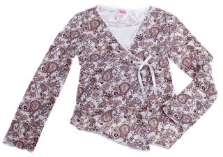 Justice Paisleys Brown White Long Sleeve Top Shirt 6 7