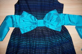 Girls Star by Julien MacDonald Teal Black Netted Party Dress Age 6