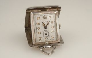 Swiss Juvenia Pop Up Sterling Silver Niello Pocket Watch