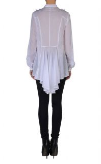 Just Cavalli White Ruffled Asymmetricl Long Sleeve Blouse Shirt US s