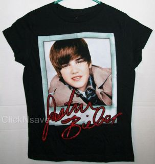 Justin Bieber Photo Signature Black Girls T Shirt M XL