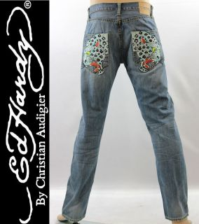 New Ed Hardy Signature White Panther H Mens Jeans Pants