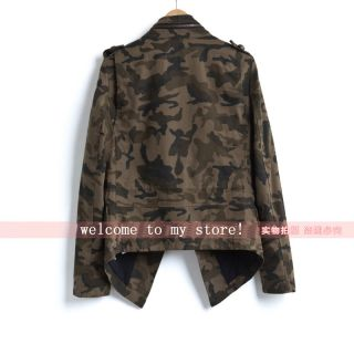 Lady Army Green Camouflage Pocket Beading Jacket Coat s M L