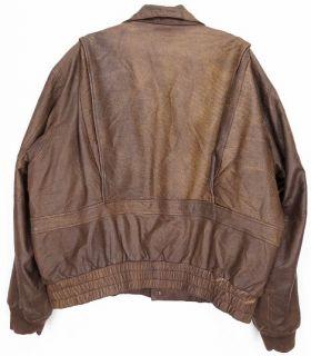 Vtg Kamal® Leather Motorcycle A2 Bomber Coat Flight Jacket Brown XL