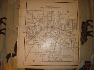 Antique Kalamazoo Michigan Map Whole City Superb