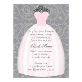 Vestido de Fiesta Rosado Quinceañera Invitation