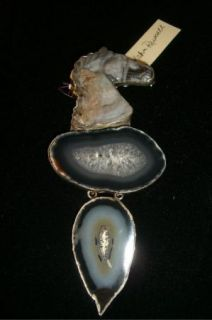 Amy Kahn Russell Sterling Framed Hand Carved Brazilian Agate Drusy Pin