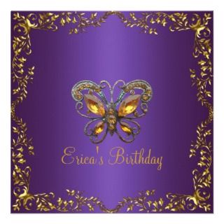 Pink Purple Butterfly Birthday Party Invitations, 359 Pink Purple