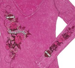 New Maui Harley Davidson Ladies Large Rider Rampage Rose Pink Long