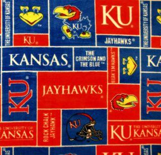 University of Kansas Jayhawks Boxes Print Fleece Fabric